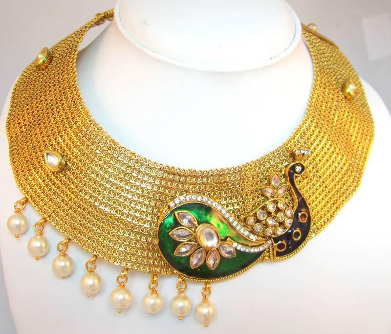 Buy Beautiful Peacock design GOLD broad choker necklace ...