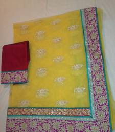 Buy Sayasachi Look Border complete handwork bridal sari in yellow and pink wedding-saree online