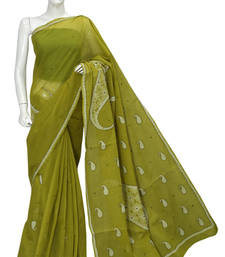 Buy Ada Hand Embroidered Green Cotton Lucknow Chikankari Saree With Blouse cotton-saree online