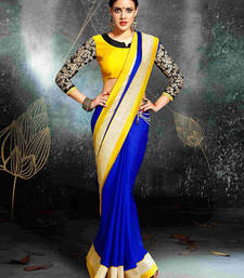 Buy Blue and Yellow embroidered chiffon saree with blouse party-wear-saree online