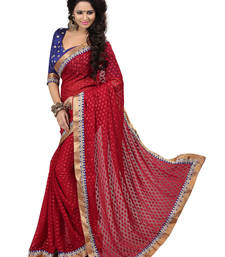 Buy Red embroidered viscose saree with blouse viscose-saree online