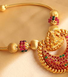 Buy GORGEOUS GOLDPLATED KEMP-GREEN LAKSHMI HANDMADE NECKLACE SET Necklace online