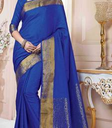 Buy Blue plain art silk saree with blouse anniversary-gift online