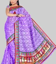 Buy Pavecha's Banarasi Net Brasso Sari Purple DNO 499 banarasi-silk-saree online