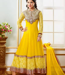 Buy Fashion4masti yellow georgette embroidered semi stitched salwar with dupatta dress-material online