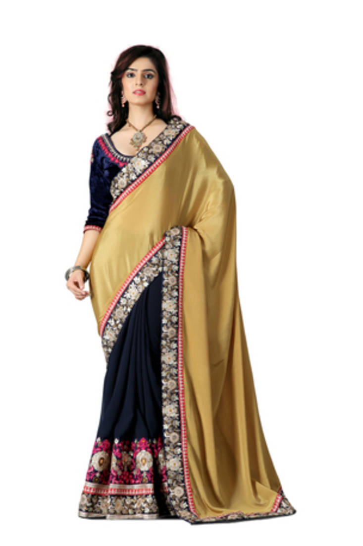 buy chikoo embroidered georgette saree with blouse online