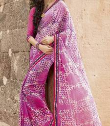 Buy White and Pink Color Faux Georgette Printed Saree with Blouse gifts-for-brother online