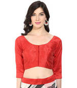 Buy Red solid art silk readymade blouse