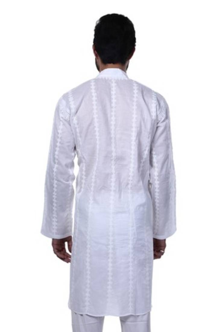 Buy ada hand embroidery white cotton lucknowi chikan men s
