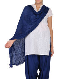 Buy Ink Blue Solid (Plain) Pure Cotton Dupatta with Designer Lace stole-and-dupatta online