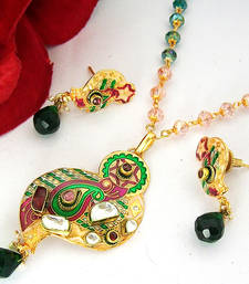 Buy Meenakari Designer Pendant Set 2 Necklace online