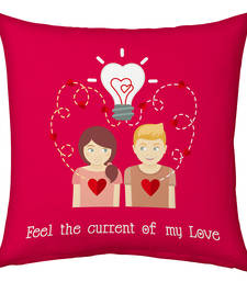 Buy Pink Designer Romantic Printed Filled Cushion cushion-cover online