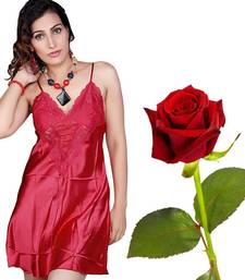 Buy Soft N Sexy Satin Night Frock Set Valentine Gift valentine-gift online