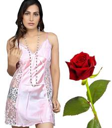 Buy Pink PowerNet Honeymoon Night Frock Valentine Gift valentine-gift online
