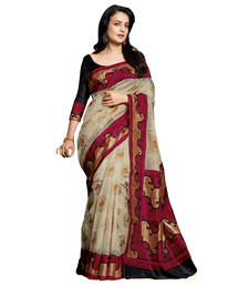 Buy Beige and Red printed art_silk saree with blouse below-400 online