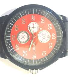 Buy Red Strap Men's Round Dial Quartz Analog Rubber Band Wrist Watch gifts-for-him online