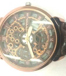 Buy CopperLeatherSkeletonMechanicalFashionLuxuryBlackDialMensWristWatch gifts-for-him online