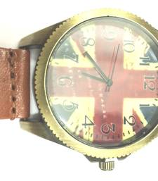 Buy Vintage England Flag Design Quartz Brown Leather Strap Mens Wristwatch gifts-for-him online