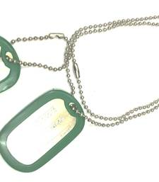 Buy Engraved Army Style With Green Thick Border 2 Dog Tag Pendant For Men gifts-for-him online