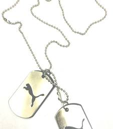 Buy Tiger Style Stainless Steel 2 Dog Tag with Silver Ball Chain gifts-for-him online