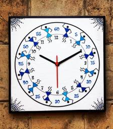 Buy Colourful Handmade Hand Painted Warli Wall Clock for kids (boys) wall-clock online