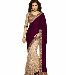 Buy Maroon and cream embroidered velvet saree with blouse velvet-saree online