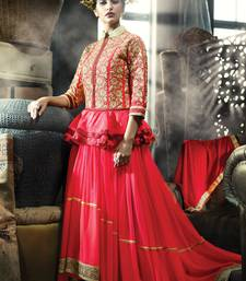 Buy Red Paplon Style Dupion Indo Western Gown party-wear-gown online