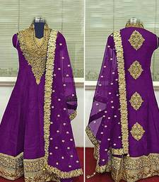 Buy PURPLE embroidered BANGALORI SILK semi stitched salwar with dupatta party-wear-salwar-kameez online