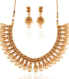 Buy Mindblowing Gold plated antique set necklace-set online
