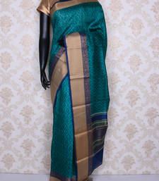 Buy Blue printed faux tussar silk saree with blouse tussar-silk-saree online