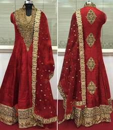 Buy Red bangalori slik embroidered semi stitched salwar with dupatta party-wear-salwar-kameez online