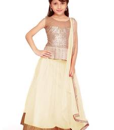 Buy Off white dhupian plain unstitched lehenga-choli kids-lehenga-choli online