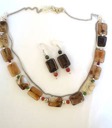 Buy Brown beaded_jewellery agate necklace-sets necklace-set online