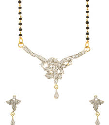Buy Gold Plating Single Chain Mangalsutra Set With Sparkling CZ-PSJAI25735 mangalsutra online