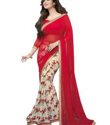 Buy Red and Cream printed synthetic georgette saree with blouse georgette-saree online
