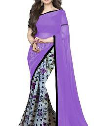 Buy Purple and white printed georgette saree with blouse georgette-saree online