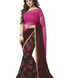 Buy Pink and coffee printed georgette saree with blouse georgette-saree online