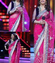 Buy MADHURI DIXIT BOLLYWOOD PINK NET SAREE net-saree online