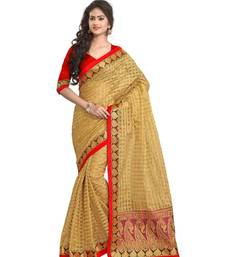Buy Gold printed tissue saree with blouse tissue-saree online