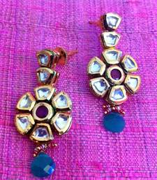 Buy Sparkling flower shaped Indian earring in pure kundan with red green touch v643 gifts-for-wife online