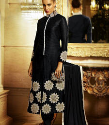 Buy Black embroidered Bhagalpuri Silk semi stitched salwar with dupatta salwar-kameez-below-2000 online