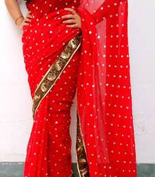 Buy Red chiffon saree chiffon-saree online