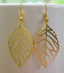 Buy golden leaf earring danglers-drop online