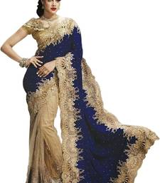 Buy Blue and cream embroidered net and velvet saree with blouse velvet-saree online