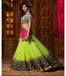 Buy Green embroidered net unstitched bridal-lehengas bridal-lehenga online