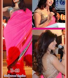 Priyanka Chopra Bollywood  Pink Georgette Saree shop online