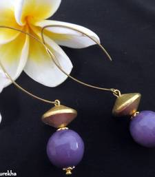 Buy Long_Hook_Golden_Brushed_Purple_Agate danglers-drop online