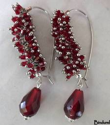 Buy Wine_Silver_Ghungroo_Wine_Drop_Earrings danglers-drop online