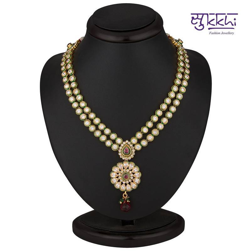 String Lights Marshalls : Buy Sukkhi Exquitely Crafted Gold Plated CZ Two String Rodo Light Necklace Set Online