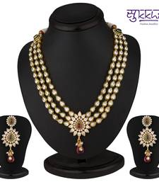 Buy Sukkhi Stunning Hearts Gold Plated CZ Three String Rodo Light Necklace Set necklace-set online